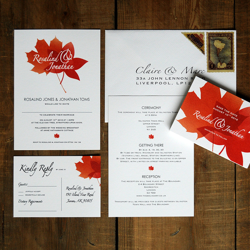 Autumn Leaves Wedding Invitation - Feel Good Wedding Invitations
