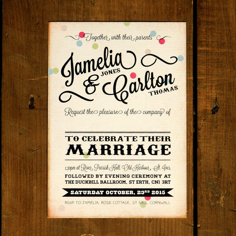 Vintage Confetti Wedding Invitation - Feel Good Wedding Invitations