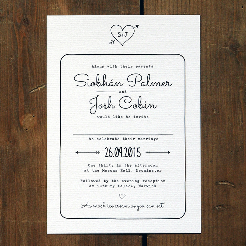 Heart and arrow wedding invitation feel good wedding invitations wedding invitation suite printed on thick 320gsm feel good textured card choose from matching save the dates rsvp cards filmwisefo