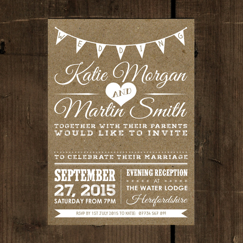 Vintage Bunting Kraft Effect - White Text Wedding Invitation - Feel ...