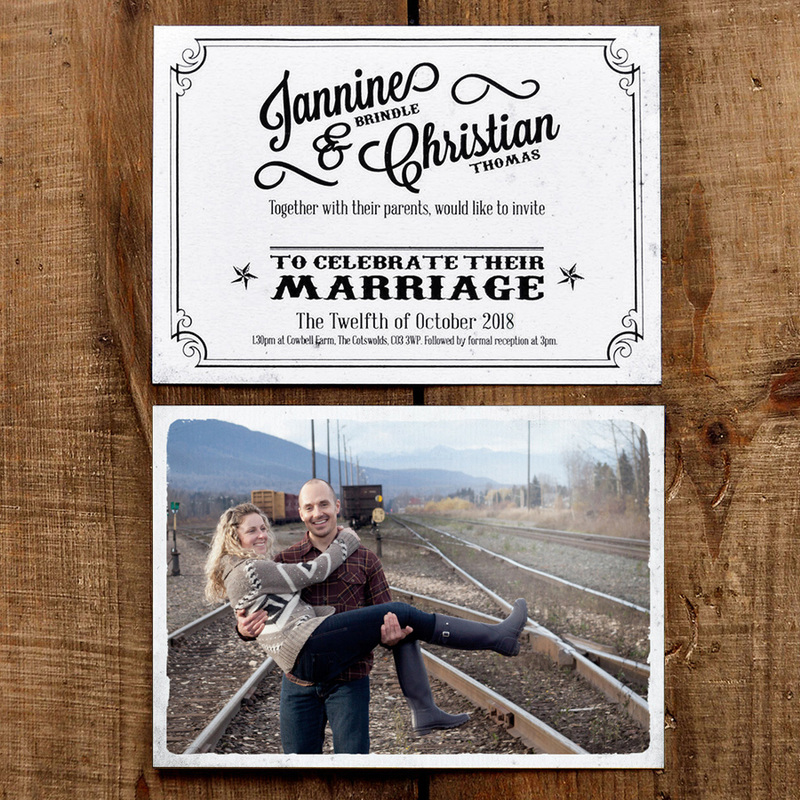 Vintage Photo Postcard Wedding Invitation Feel Good Wedding