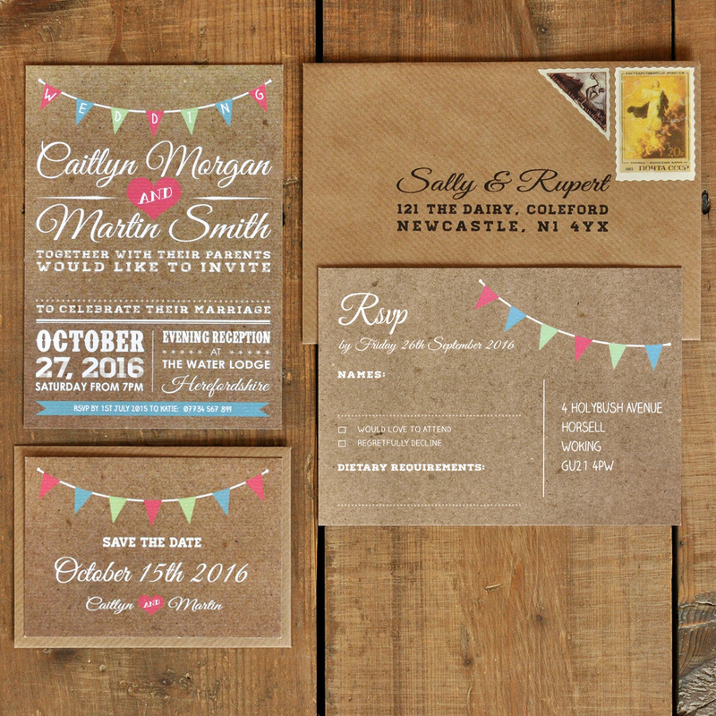 Vintage Bunting Kraft Effect - White Text Wedding Invitation ...