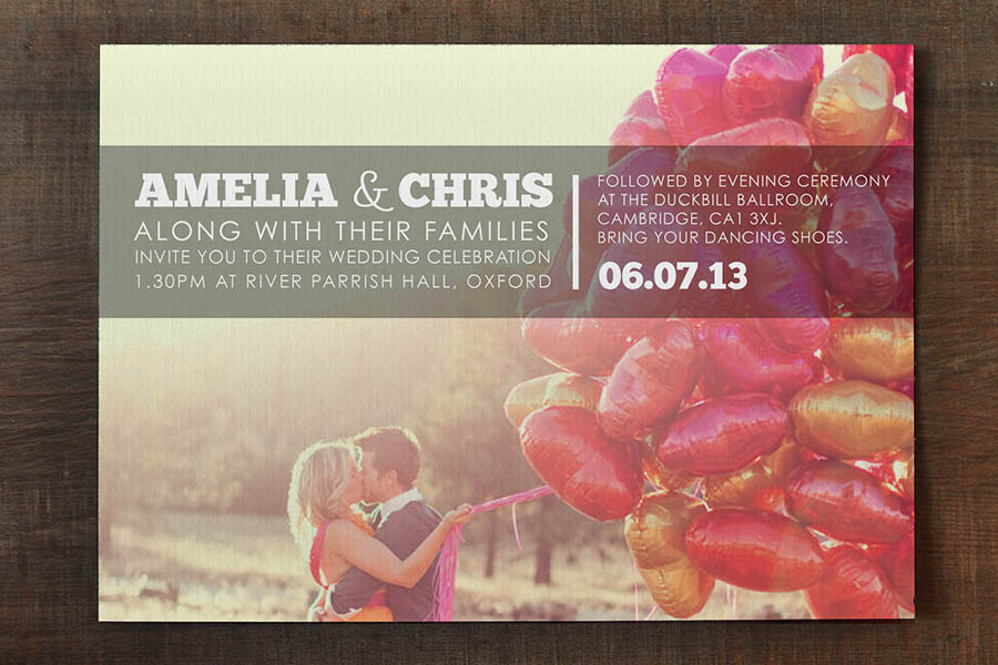 Engagement photo wedding invitation feel good wedding invitations stopboris Image collections