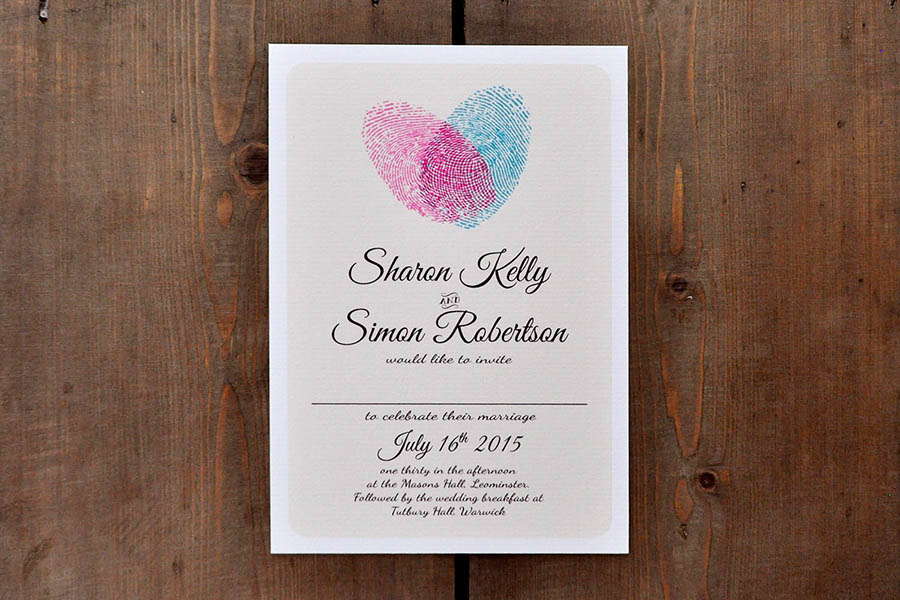 fingerprint heart wedding invitation - feel good wedding invitations, Wedding invitations