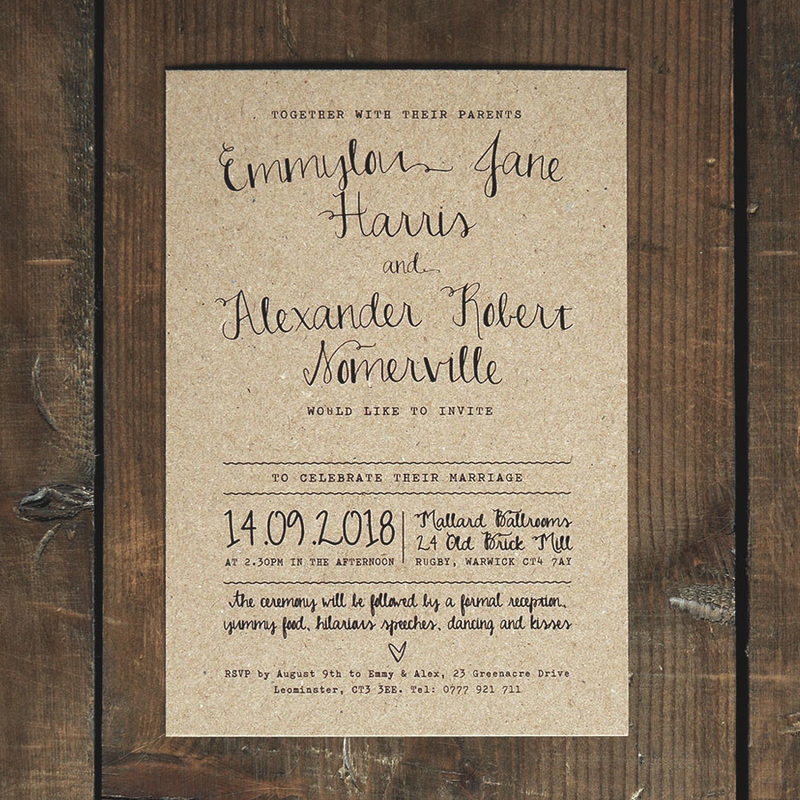 Calligraphy Kraft Wedding Invitation Feel Good Wedding