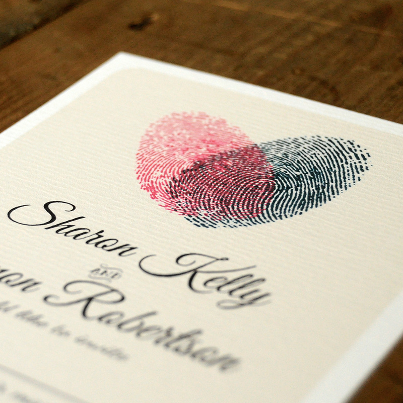 Fingerprint Heart Wedding Invitation Feel Good Wedding Invitations