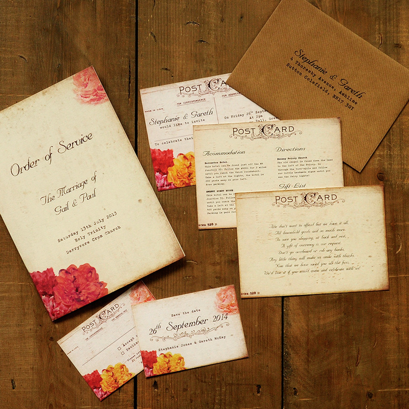 Shabby Chic Postcard Wedding Invitation
