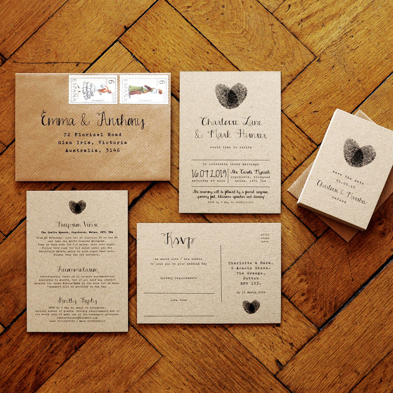 fingerprint calligraphy wedding invitation feel good wedding