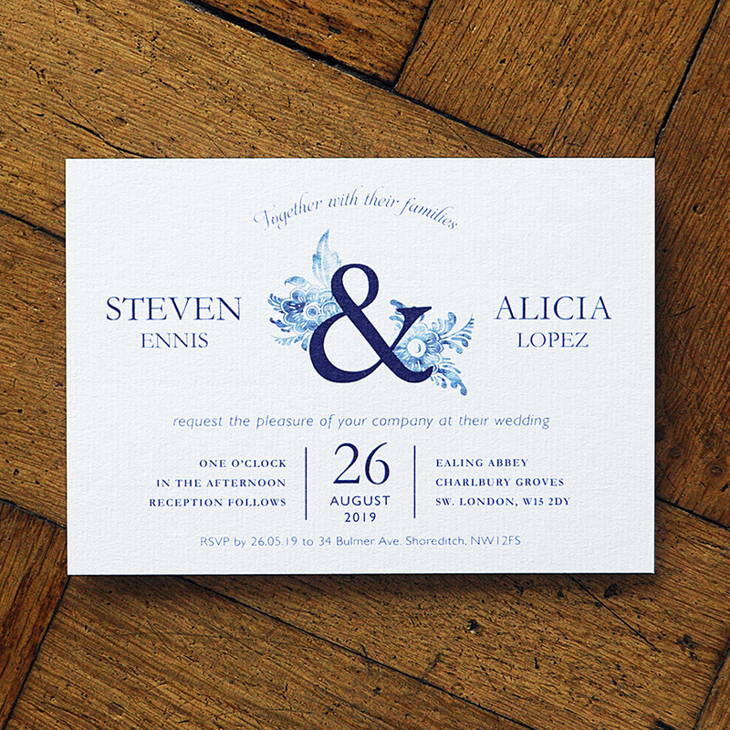 Blue china wedding invitation feel good wedding invitations place name tags orders of service thank you cards and much more high quality white or ribbed kraft envelopes are also available reheart Image collections