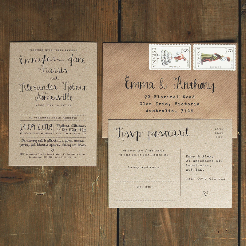Calligraphy Kraft Wedding Invitation Feel Good Wedding Invitations