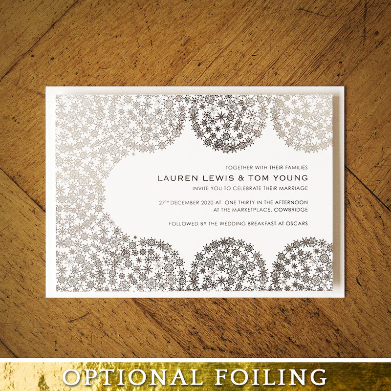 Winter snowflakes foiled invitation feel good wedding for Rose gold winter wedding invitations