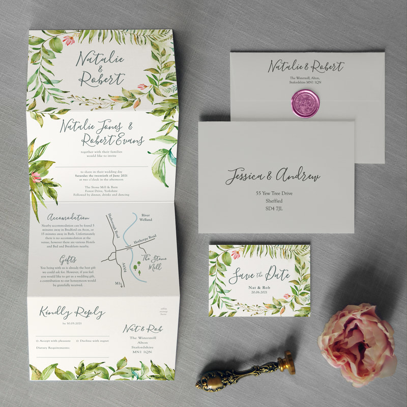 The Botanical Flourishes Flow Down Invitation Includes Custom Map And Rsvp Tear Off Postcard