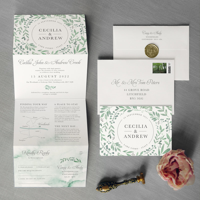 Featuring A Delicate Springtime Garland Perfect For Rustic Fairytale Forest Wedding Includes Custom Map And Rsvp Tear Off Postcard