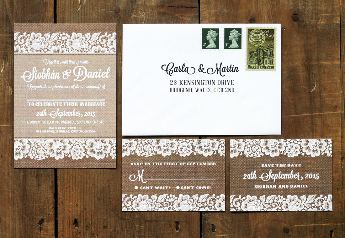 Shabby Chic Lace Wedding Invitation Feel Good Wedding Invitations