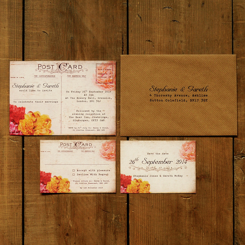 shabby chic postcard wedding invitation feel good wedding invitations