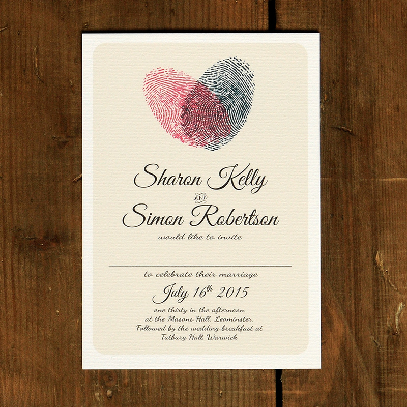 Places To Print Wedding Invitations: Fingerprint Heart Wedding Invitation