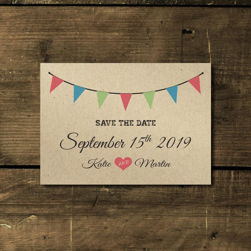 Vintage Bunting Kraft Wedding Invitation Feel Good Wedding Invitations