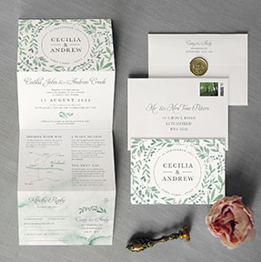 Calligraphy Kraft Wedding Invitation